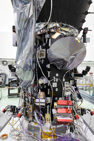 NASA's Parker Solar Probe after a plaque containing a microchip that bears the names of over 1.1 million people was attached to it at Astrotech Space Operations in Titusville, Florida...on May 18, 2018.