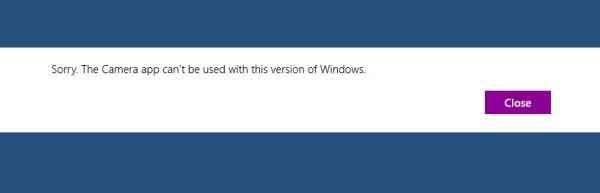 windows 8 camera app problems message