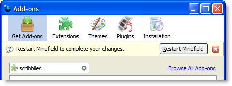 Firefox 3 Add-ons Manager restart button