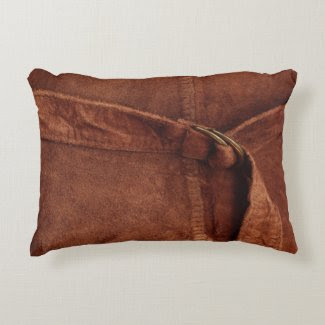 Brown Suede With Strap And Buckle Accent Pillow