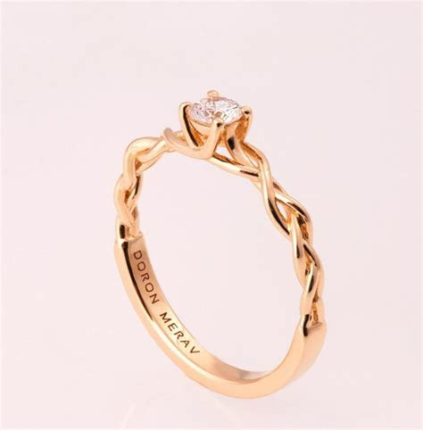 Braided Engagement Ring 2   14K Gold And Diamond