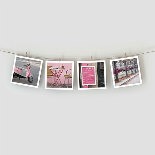 Black and Pink - Paris in Pink Print by littlebrownpen