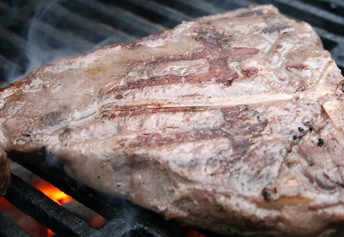 Browning cooked steak