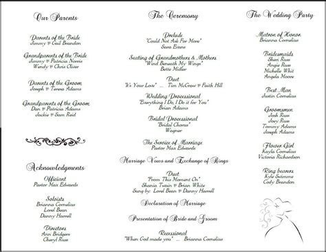 Example of Wedding Programs     wedding program back