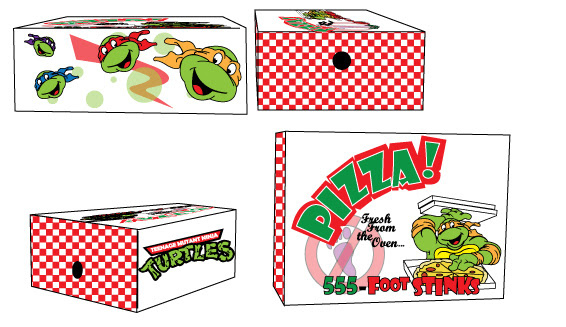 Run Athletic .. TMNT 'Pizza Box' shoebox concept design [[Courtesy of Steve Murphy]]