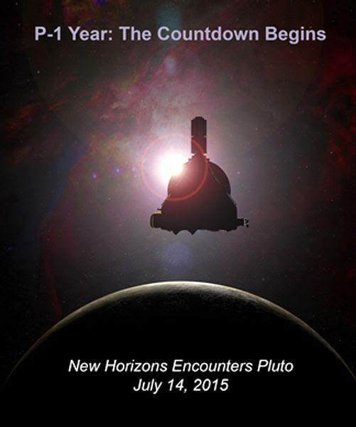 An illustration marking the one-year wait till NASA's New Horizons spacecraft reaches the dwarf planet Pluto.