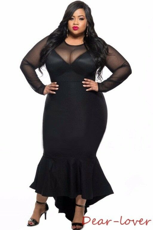 plus size sheer mesh sexy curvy mermaid dress women
