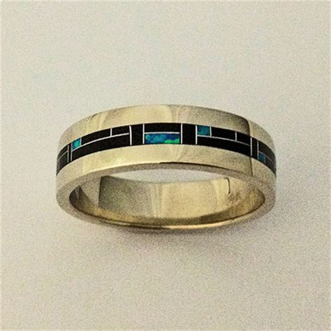 mens ladies white gold wedding band with inlay of black