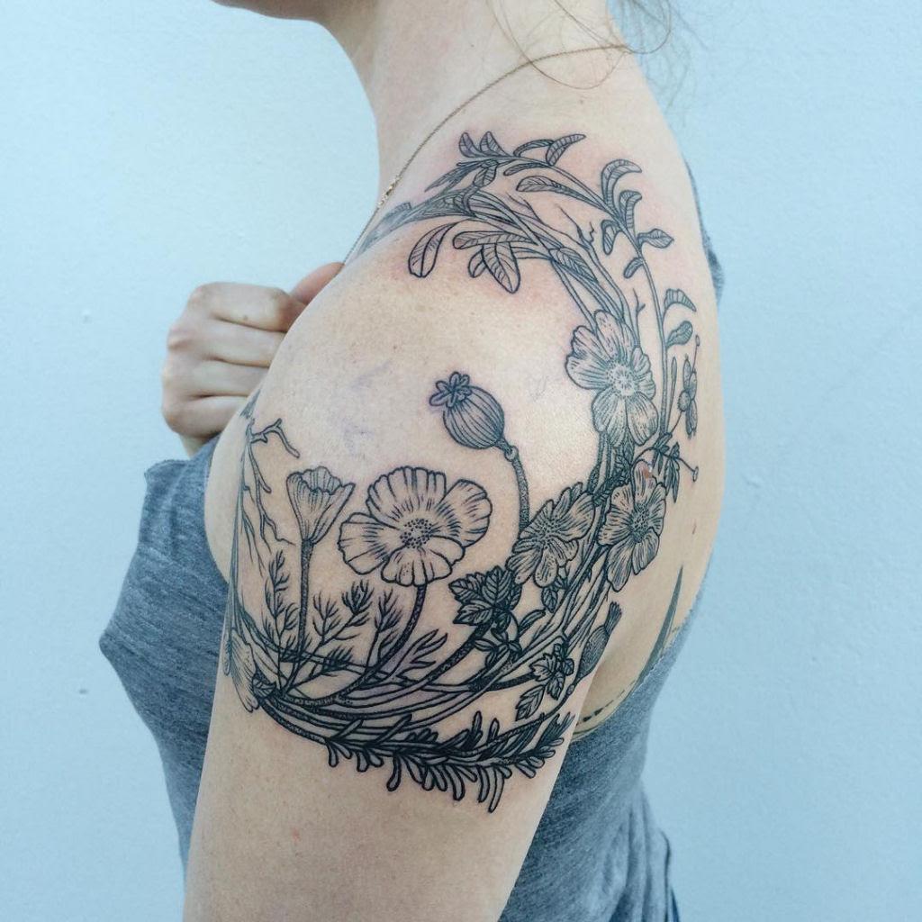 Tatuagens inspiradas na natureza combinam gravuras de estilo vintage de fauna e flora 05