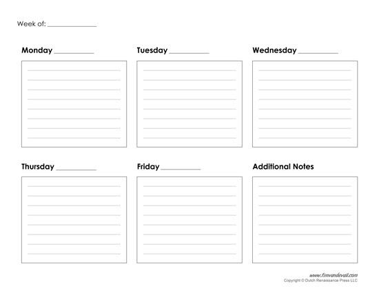 Printable Weekly Calendar Template - Free Blank PDF