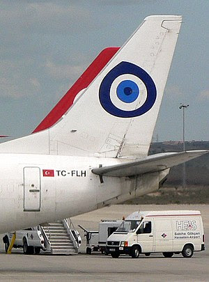 An aircraft with Nazar boncuğu; the blue eye t...