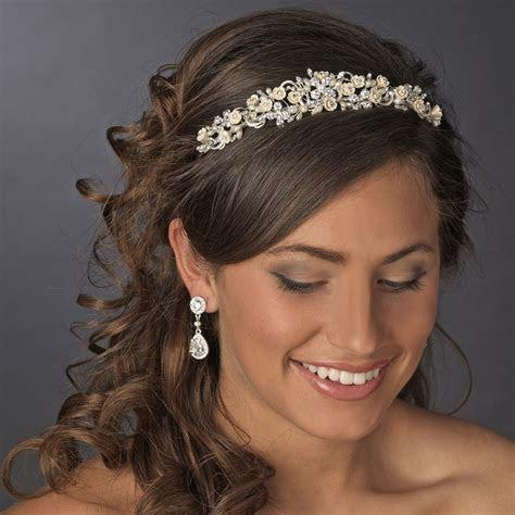 Floral Rhinestone Champagne Elegance Bridal Headband   HP