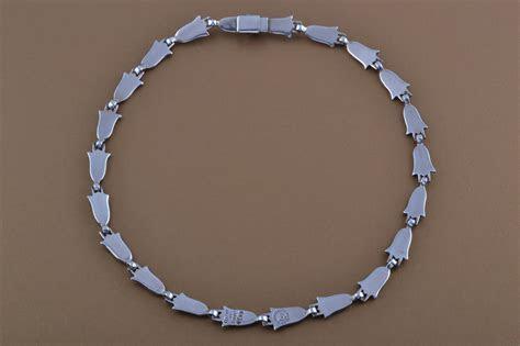 Silver And Enamel Vintage Mexican Necklace   Vintage