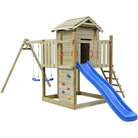 holz spielturm spielhaus kletterturm schaukel rutsche