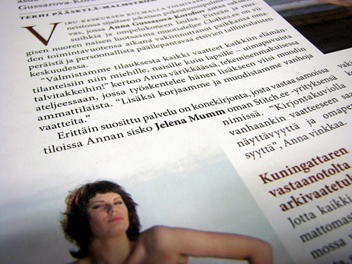 about me in Finnish magazine