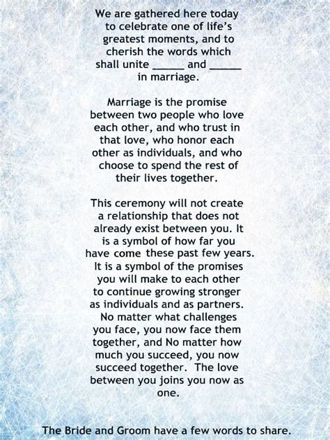 Non Religious, Short and Sweet Wedding Ceremony Script