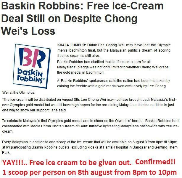 Baskin Robbins tetap percuma walaupun Chong Wei tewas - Terbakor
