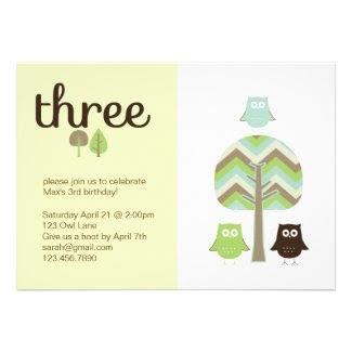 Owl 3rd Birthday Invitation