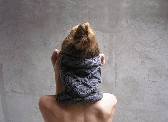 Grey chunky cowl hand knit cable winter accessory