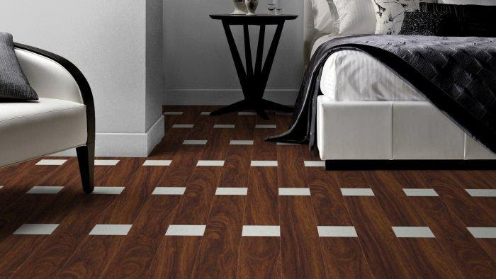 Brown and white designer floor tiles for classic bedroom interior design
