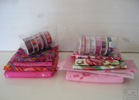 fabric and ribbons for the pink dresses? :: stoff og bånd for rosa kjoler