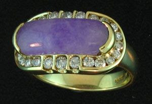 Lavener Jade Saddle Ring with Diamonds