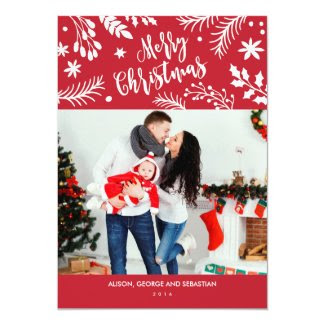 Merry Christmas Branches Holiday Photo Card