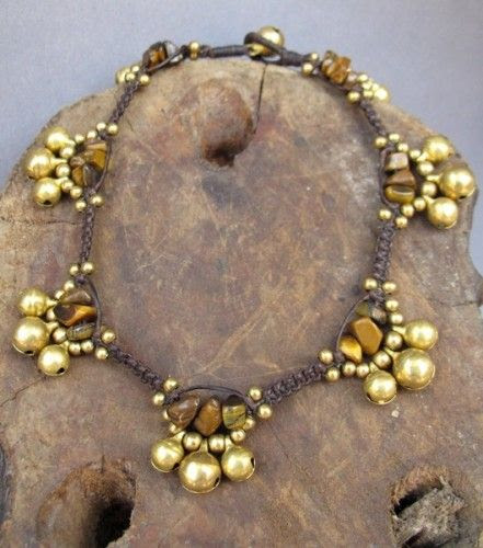 Hill Tribe Tiger Eye Brass Bell Anklet | Artisticjewelry - Jewelry on ArtFire