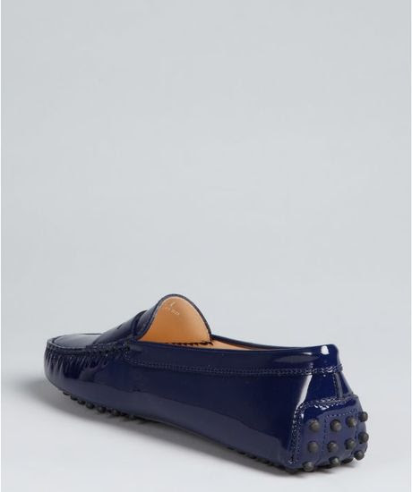 Tod's Electric Blue Patent Leather Penny Loafers in Blue ...