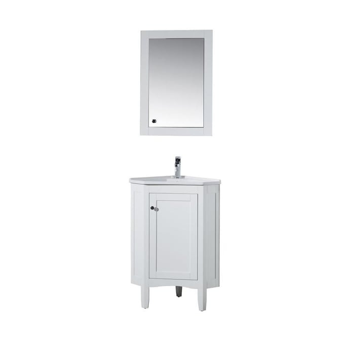 Stufurhome 17 In White Single Sink Bathroom Vanity With White Ceramic Top Mirror Included In The Bathroom Vanities With Tops Department At Lowes Com