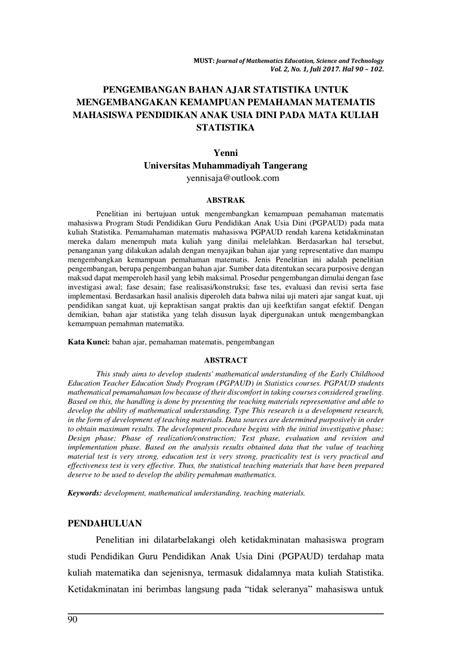 (PDF) Pengembangan Bahan Ajar Statistika untuk