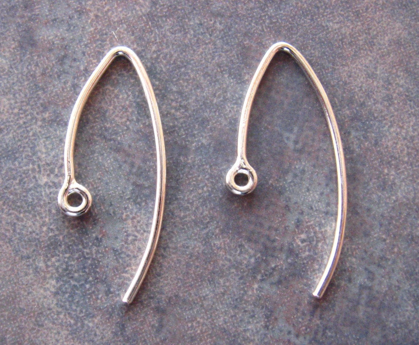 4 Bali Sterling Silver Marquise - Leaf Ear Wires  20mm x  10mm - 2 pairs LOW SHIPPING - LindenAvenueDesigns