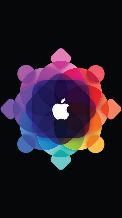 abstract overlap pattern apple logo iphone  wallpaper