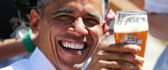 OBAMA CHEERS UP