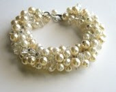 Pearl Cluster Bracelet, Bridal, Vintage Champagne Pearls, Wedding Jewelry