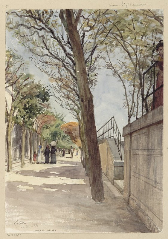 watercolour sketch of peopled walkway in Tuilleries gardens in 19th century Paris