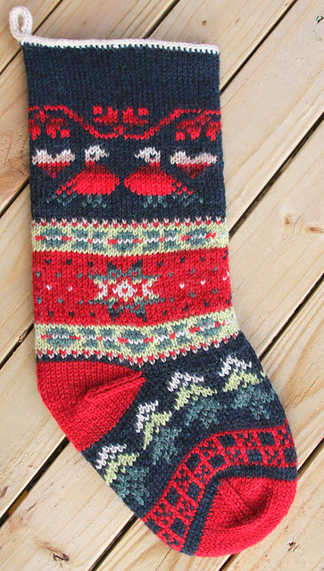 Bas de Noël tricotés Turtledove Stocking par Jenny Williams