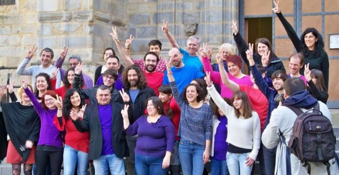 Imagen de la corriente Aurrera Begira de Podemos Euskadi durante la de su candidatura para las primarias de las que salió el Consejo Ciudadano Autonómico de Podemos Euskadi