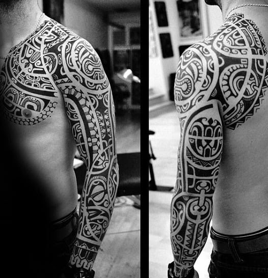 80 Tribal Shoulder Tattoos For Men Masculine Design Ideas