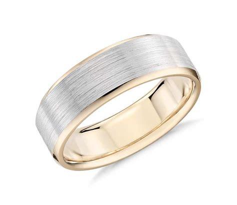 brushed beveled edge wedding ring   white  yellow