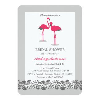 Flamingos Tropical Luau Bridal Shower Invitation