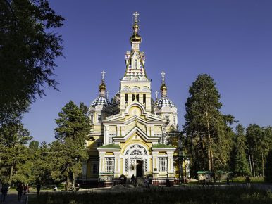A Russian Orthodox cathedral in Almaty.