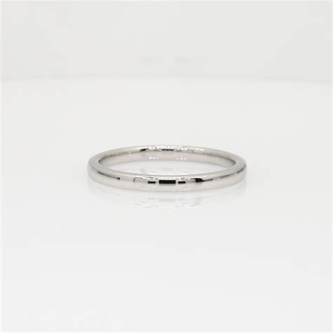 Low Dome Comfort Fit Wedding Ring in 18k White Gold (2mm
