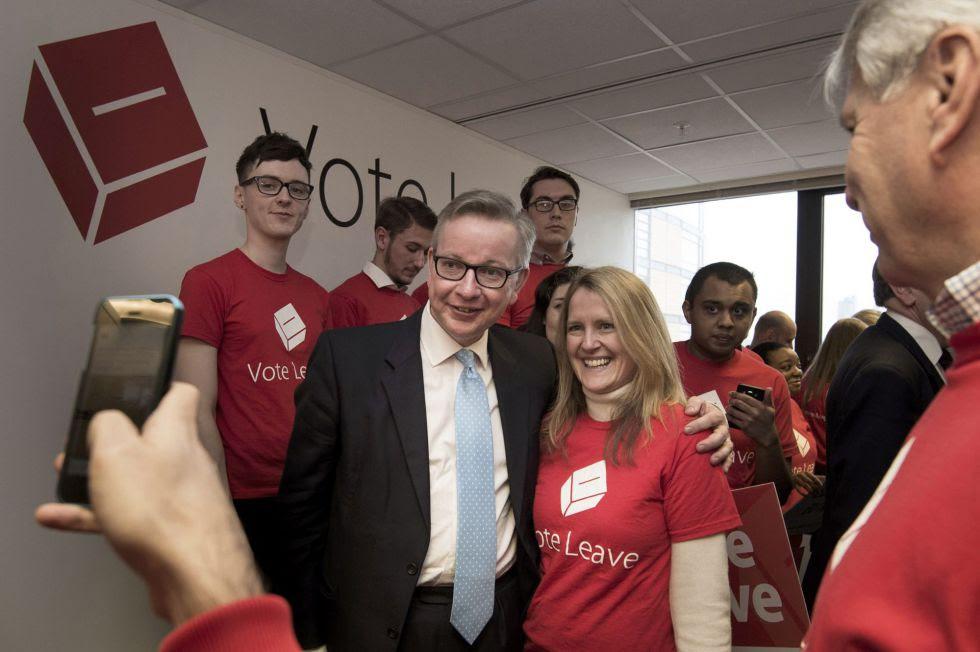 El ministro de Justicia británico, Michael Gove, este sábado en Londres en una mitin a favor de salir de la Unión Europea.