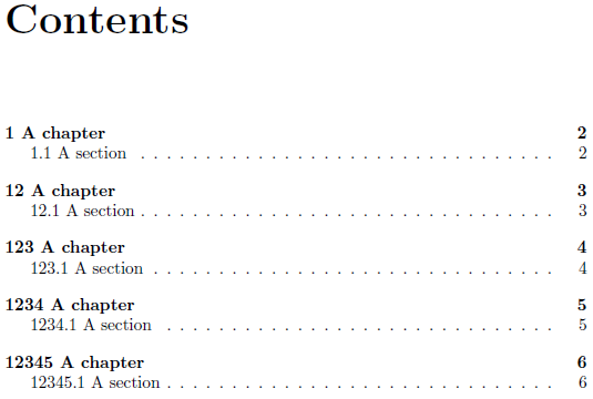 Table of Contents chapter number width - TeX - LaTeX Stack ...