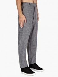 Ami Mens Grey Felt Wool Trousers