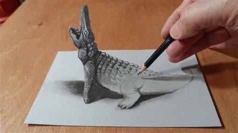 trick art drawing  crocodile youtube