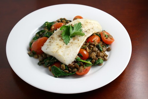 Halibut over Herbed Lentils with Spinach and Tomatoes