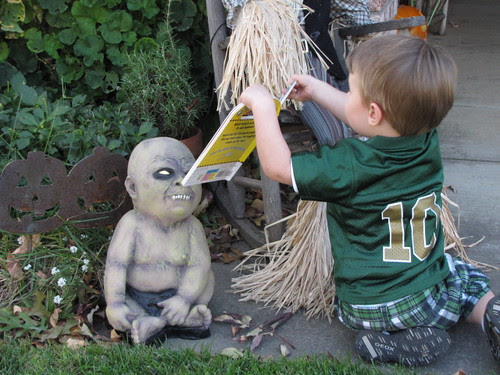 Read to baby zombie.