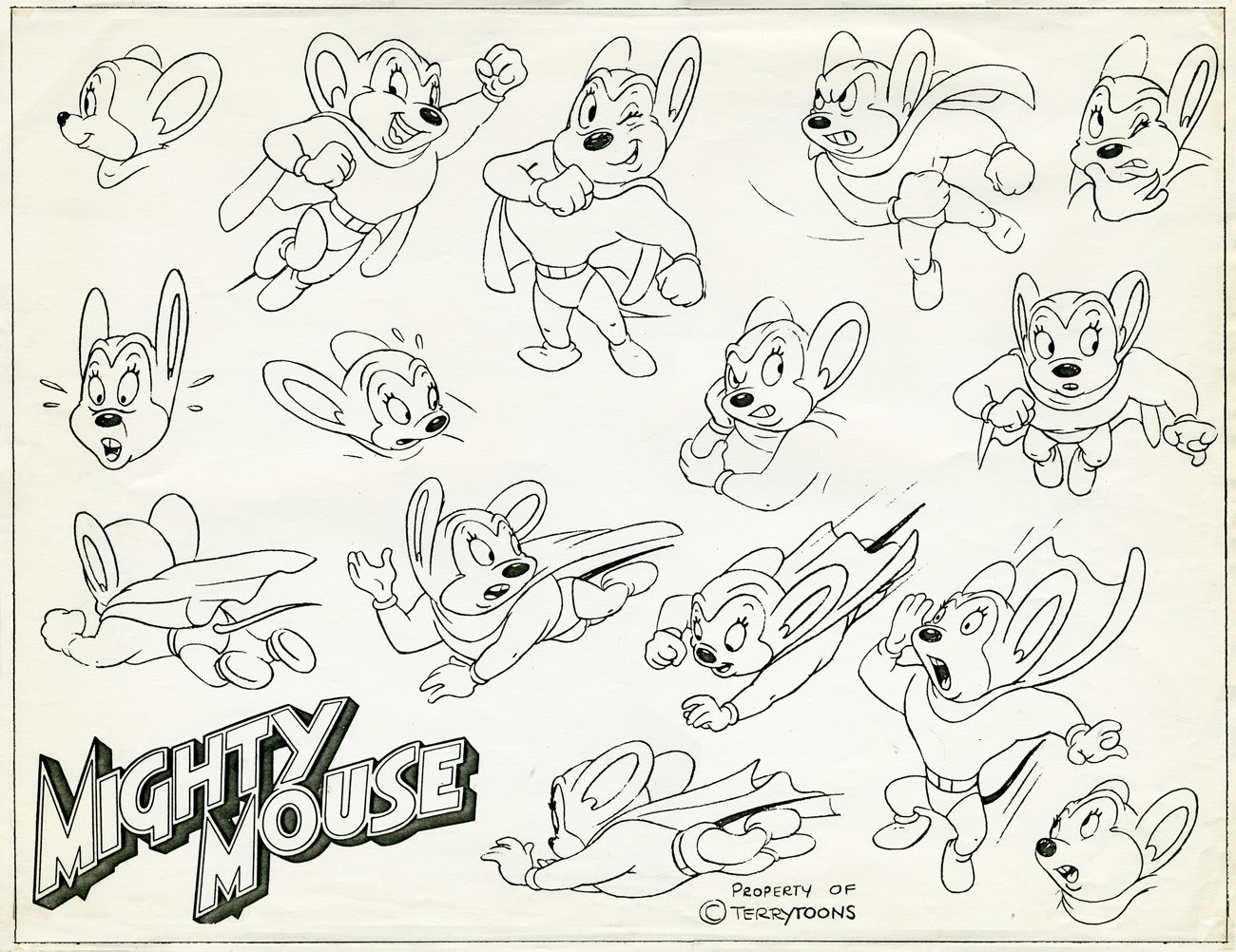 Mighty Mouse coloring pages
